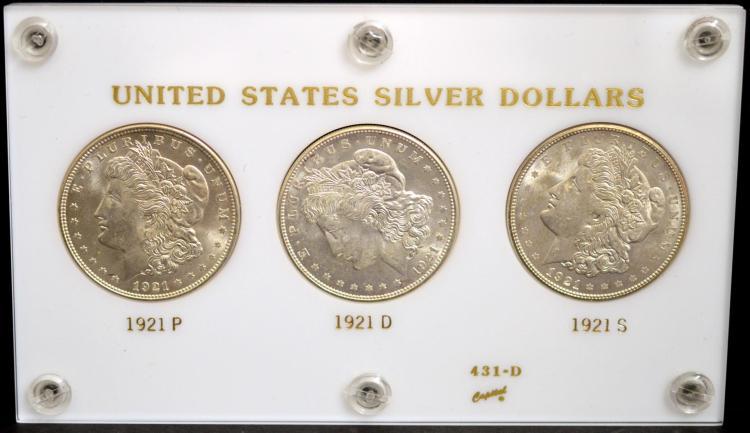 1921, 1921 D & 1921 S Morgan Silver Dollars MS