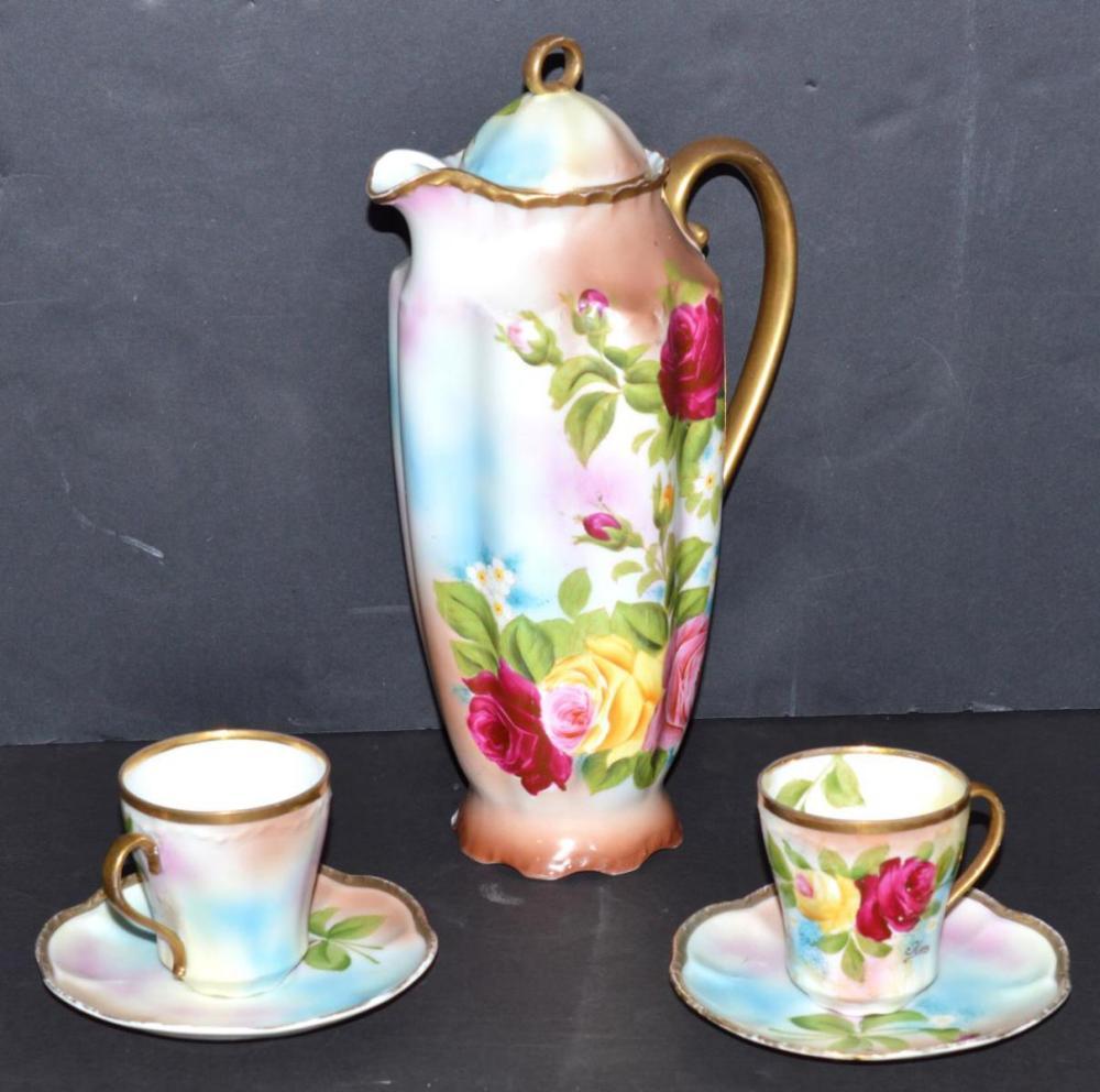Rose Coffee Pot w/2 cups, 2 saucers Missouri Glass