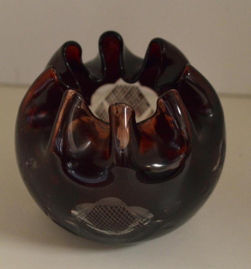 Dark Red Cut to Clear Pinch Top Glass Bowl