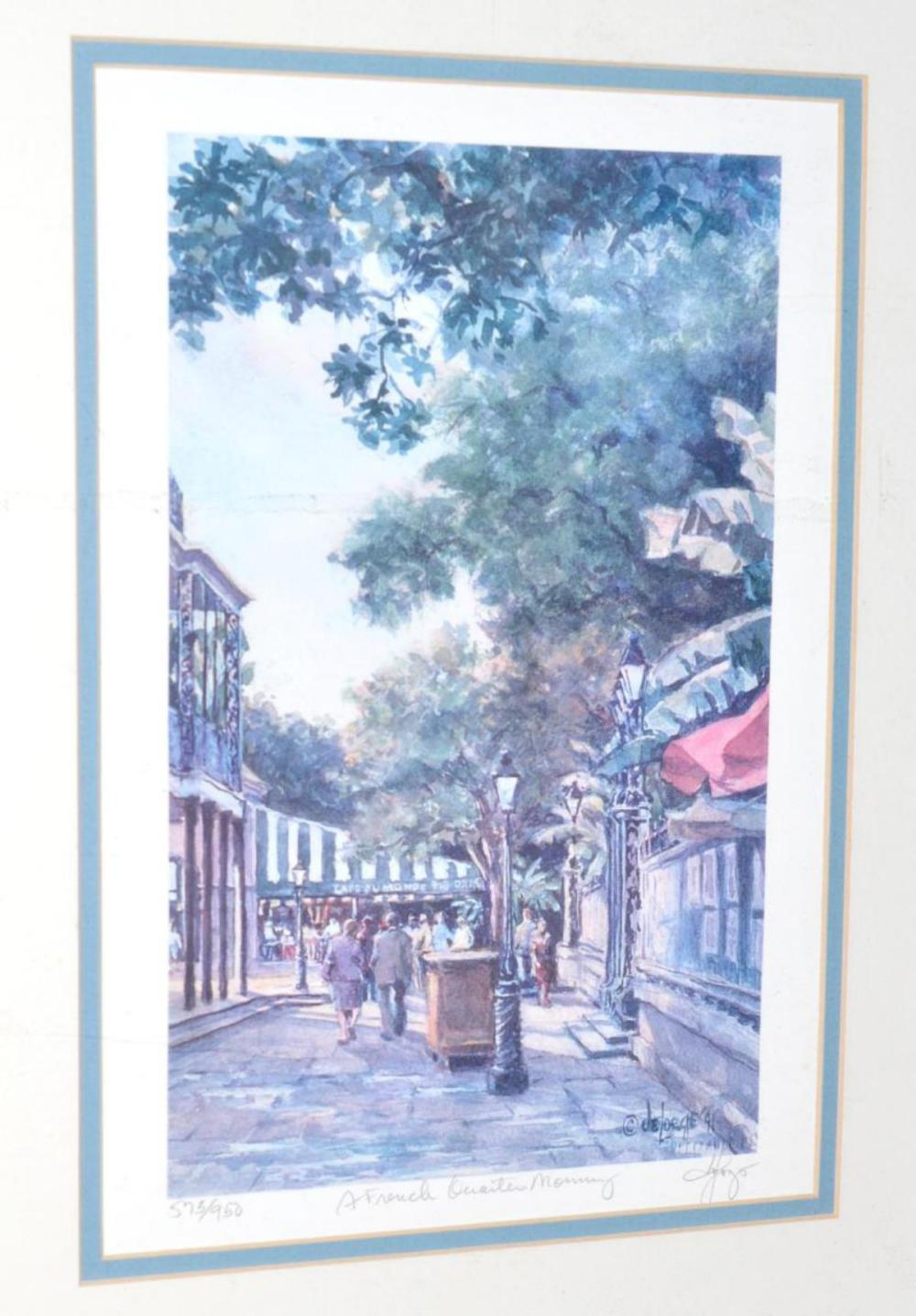 Lot 80: Ann DeLorge Signed Triptych French Quarter Morning