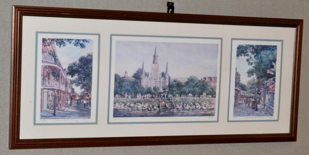 Ann DeLorge Signed Triptych French Quarter Morning