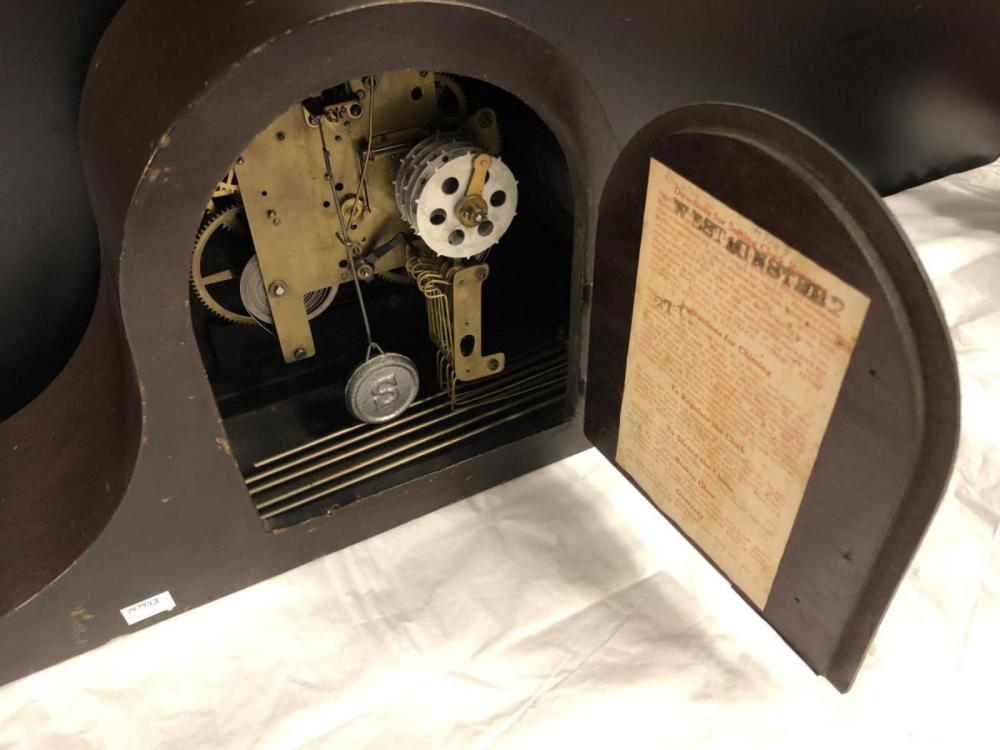 Lot 87: Vintage Wood Mantle Clock Sessions Clock Co.
