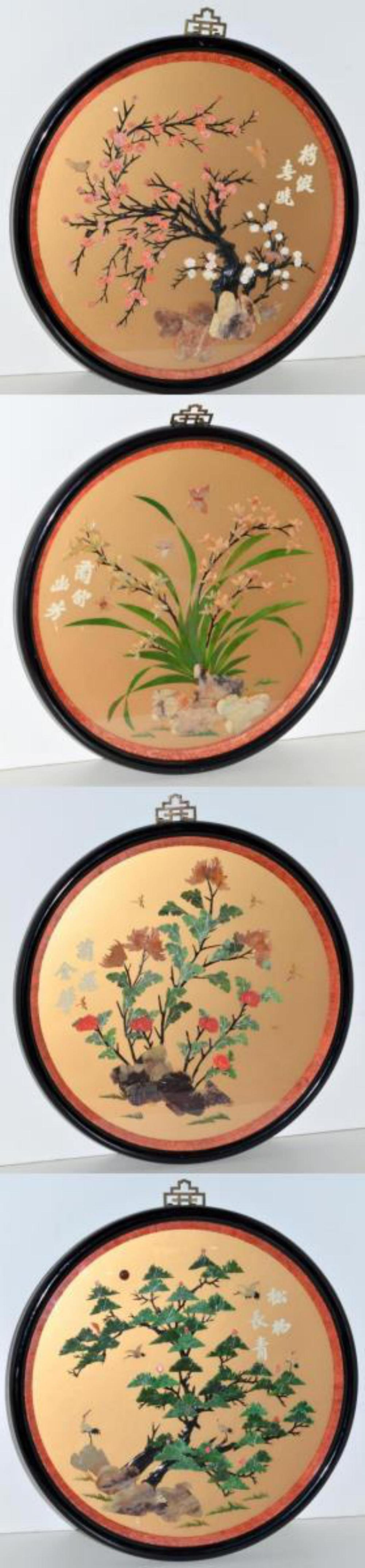 4 Framed Asian Theme Round Stone Coral Art Plaques