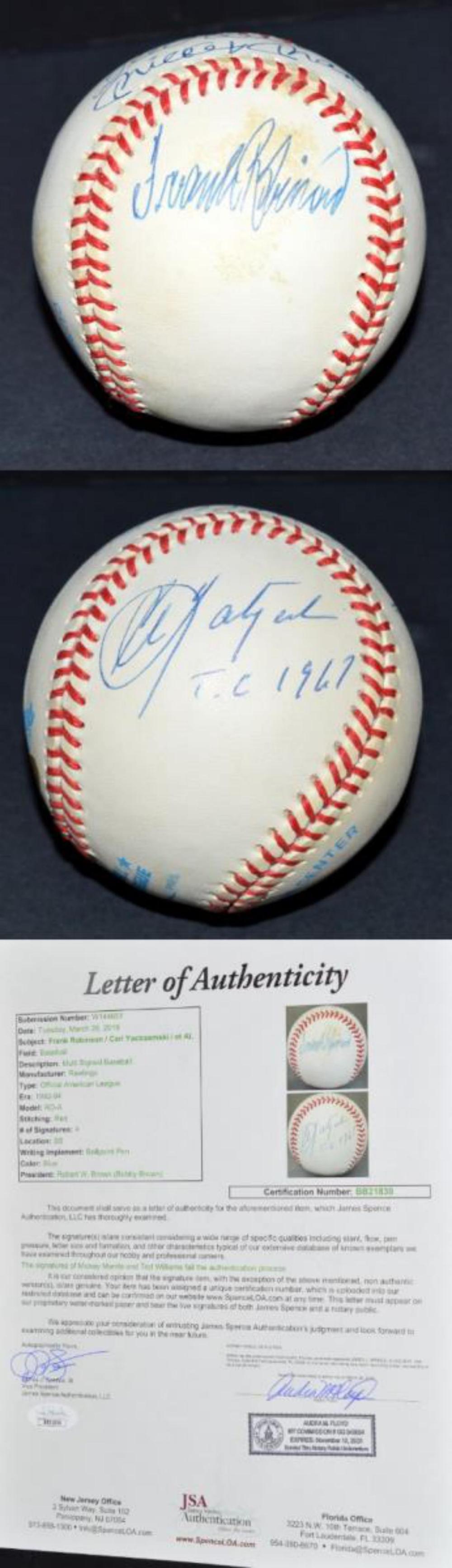Robinson & Yastrzemski Signed Baseball JSA LOA