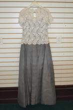 Lot 100B: Escada Floral Crocheted Lined Evening Gown Sz 40