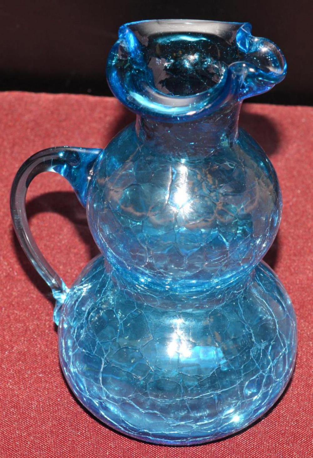 Lot 109: Pair of Hand Blown Crackle Glass Bud Vases