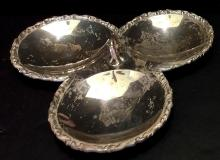 Lot 130: Sterling Silver .925 3-Bowl Candy Dish with Handle