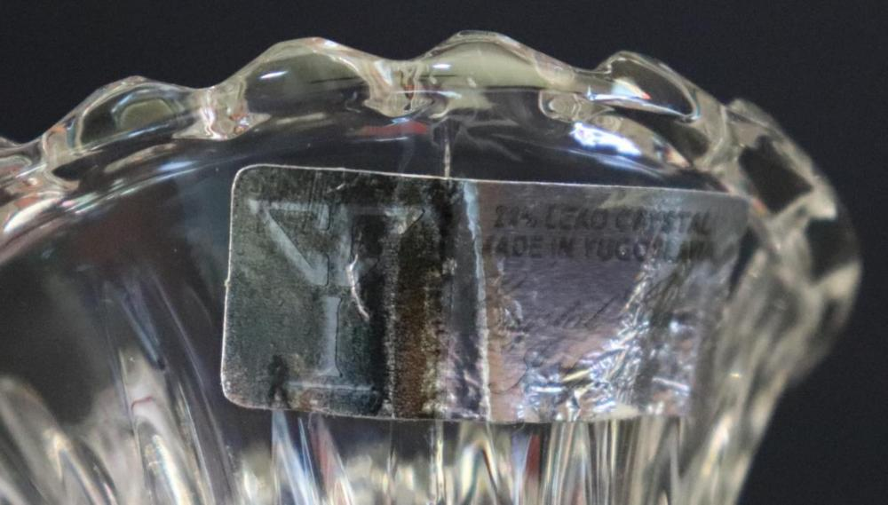 "Lot 138X: 2 Leaded Crystal Vases"" 4 1/2"" & 10"""