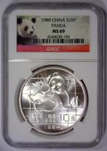 Lot 150X: 1989 Silver 10Y Chinese Panda China NGC MS69
