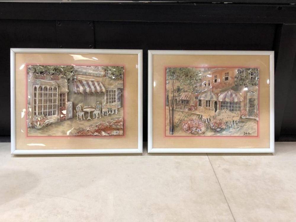 Lot 180: Pair Jim Wilson Original 3D Acrylic Collages