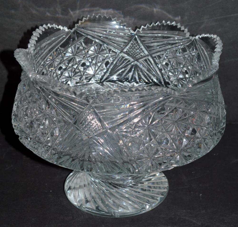 Lot 188: Pressed Glass Stem Bowl, Punch Bowl, Relish Tray