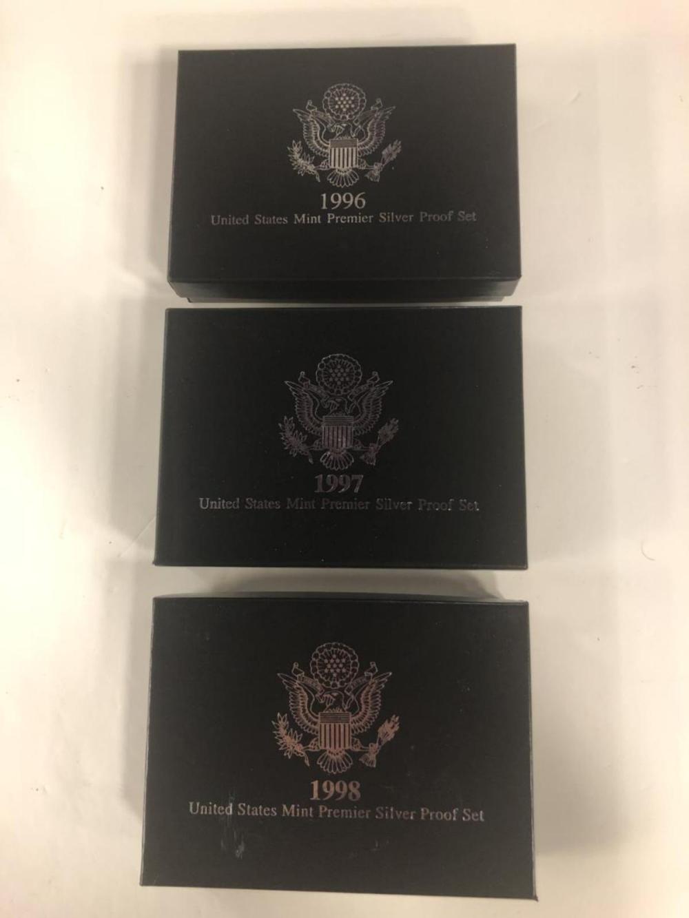 Lot 189Y: 1996 1997 1998 Premier Silver Proof Set Trio