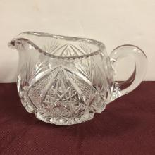 Lot 198: Pressed Glass Handle Creamer & Two Handle Sugar