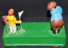 Lot 217: Cast Iron Vintage Type Repro Golf Coin Bank