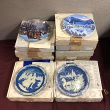 Lot 219: Lot of 9 Christmas Theme Plates in Boxes w COA's