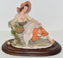 Lot 226A: Armani Figurine Capodimonte Girl with Apple Basket