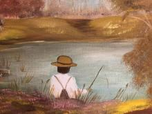 Lot 220: Boy Fishing Americana Painting on Canvas by Dotti