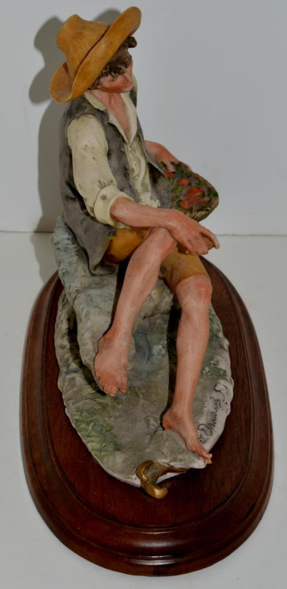 Lot 226: Armani Figurine Capodimonte Boy with Apple Basket