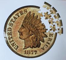 Lot 227: Lot of 5 Round Coin Jigsaw Puzzles with Sticker