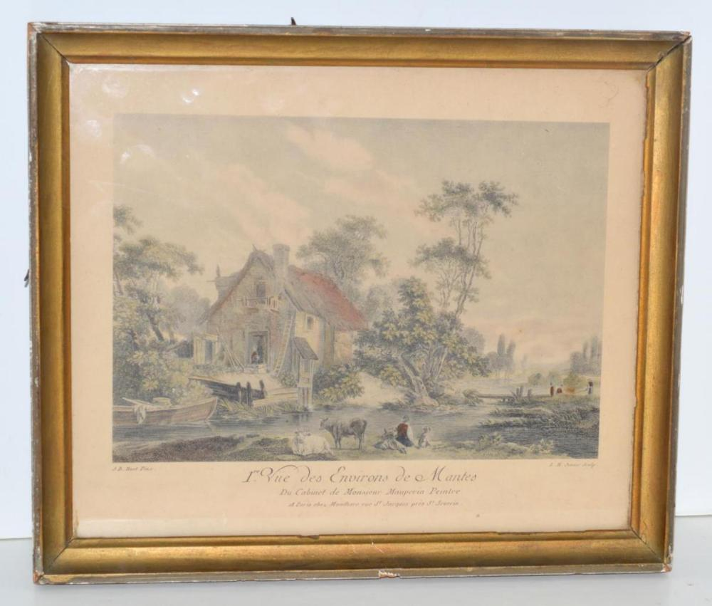 Lot 230: J.B. Huet Colorized Vintage Framed w/Glass Litho