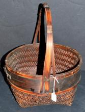 Lot 229: Vintage Woven Handle Basket with Solid Band