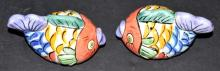 Lot 228: Painted Fish Bowl with Matching Salt & Pepper