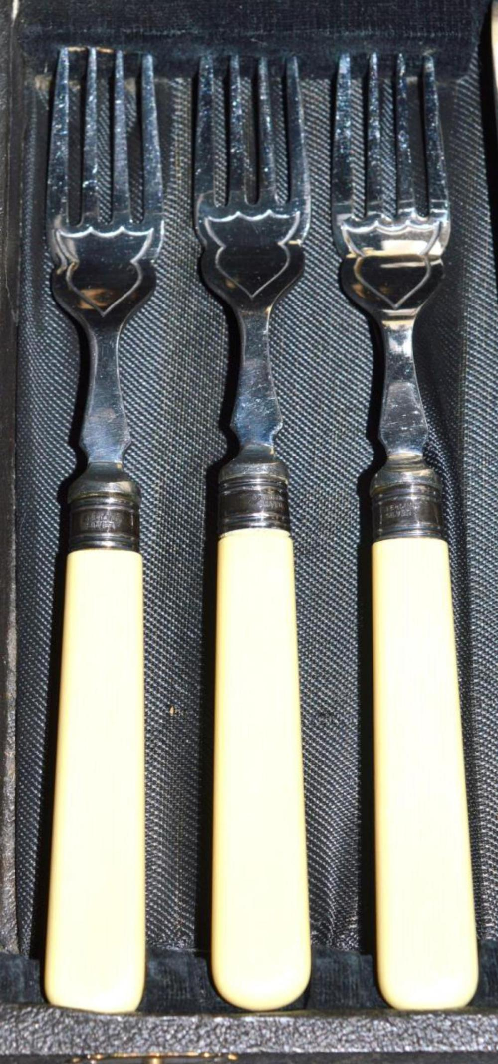 Lot 247: Firth Staybrite Fish Serving Set w Sterling Rings
