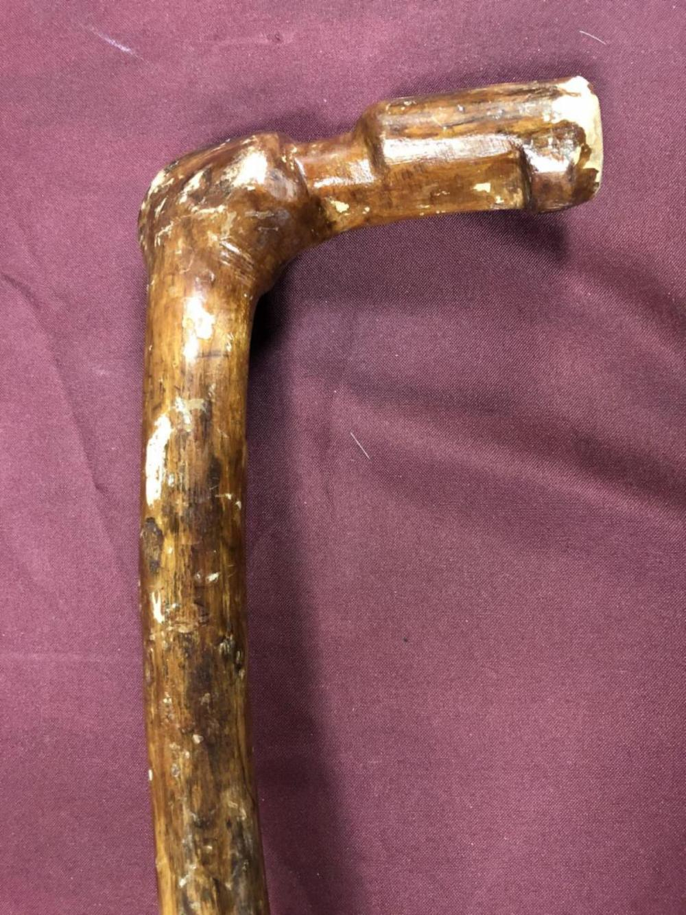 Lot 248: Hand Carved One Piece Folk Walking Stick