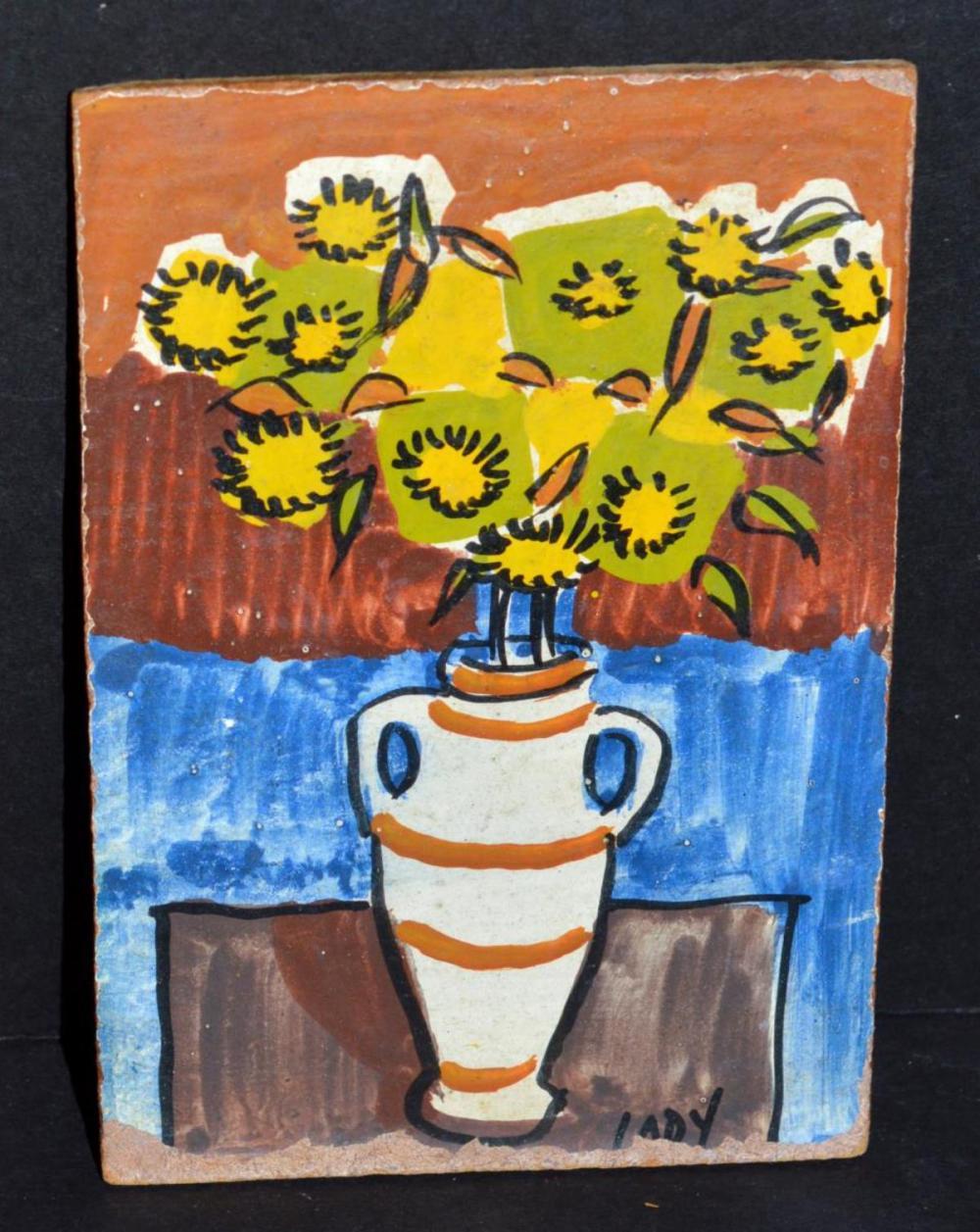 Lot 257: Vintage Pressed Flower, 2-Mini Paintings, Signed