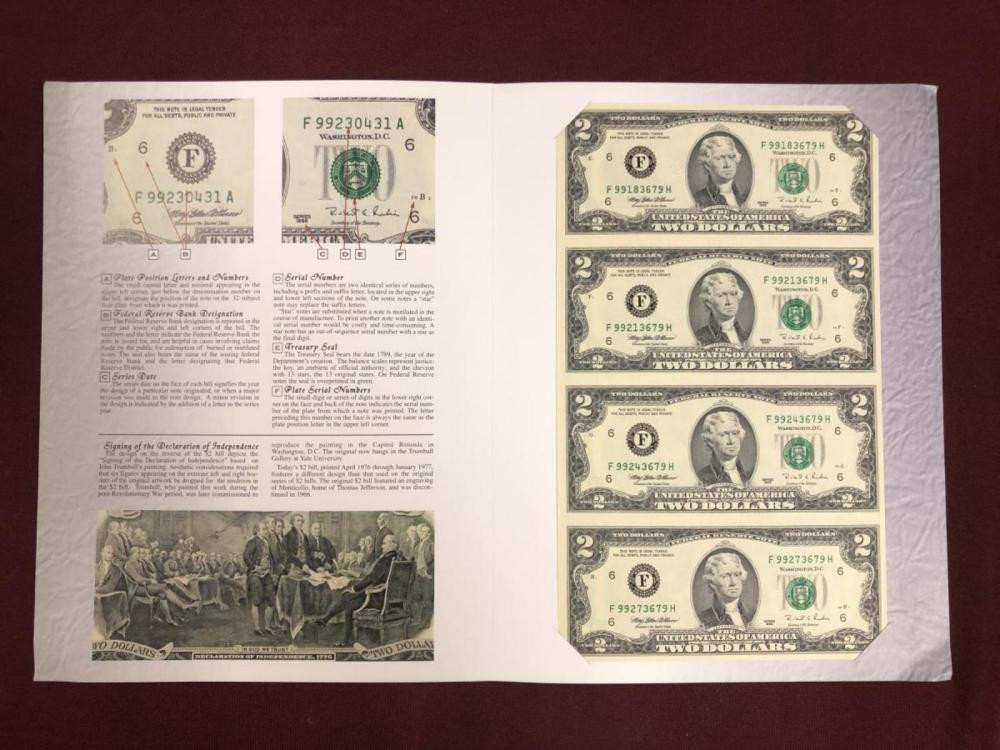 Lot 268X: Series 1995 $2 Uncut Currency Note Sheet