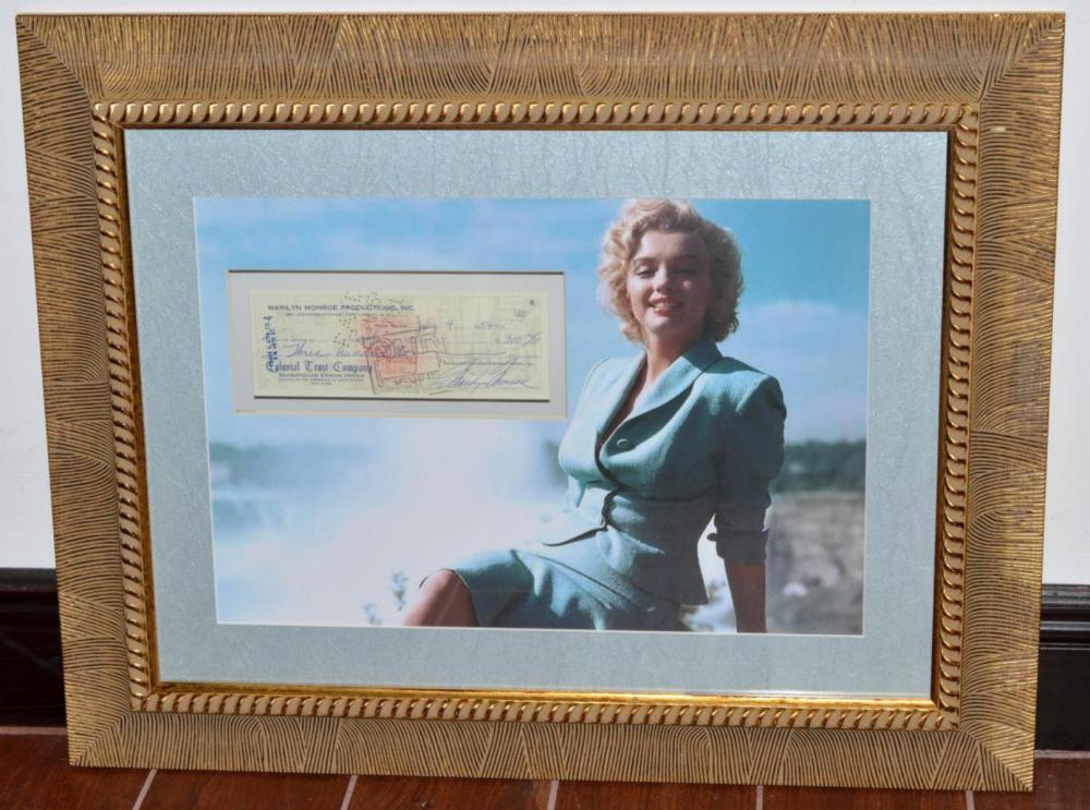 Doubled Sided Framed Marilyn Monroe Signed Check