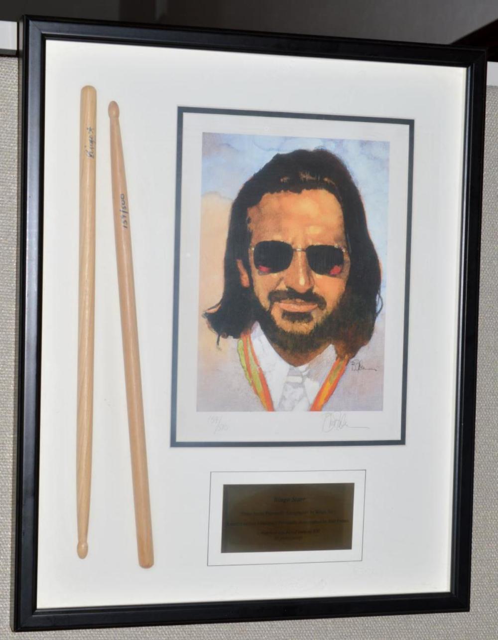 Signed Ringo Starr Drumsticks & Litho Bart Forbes