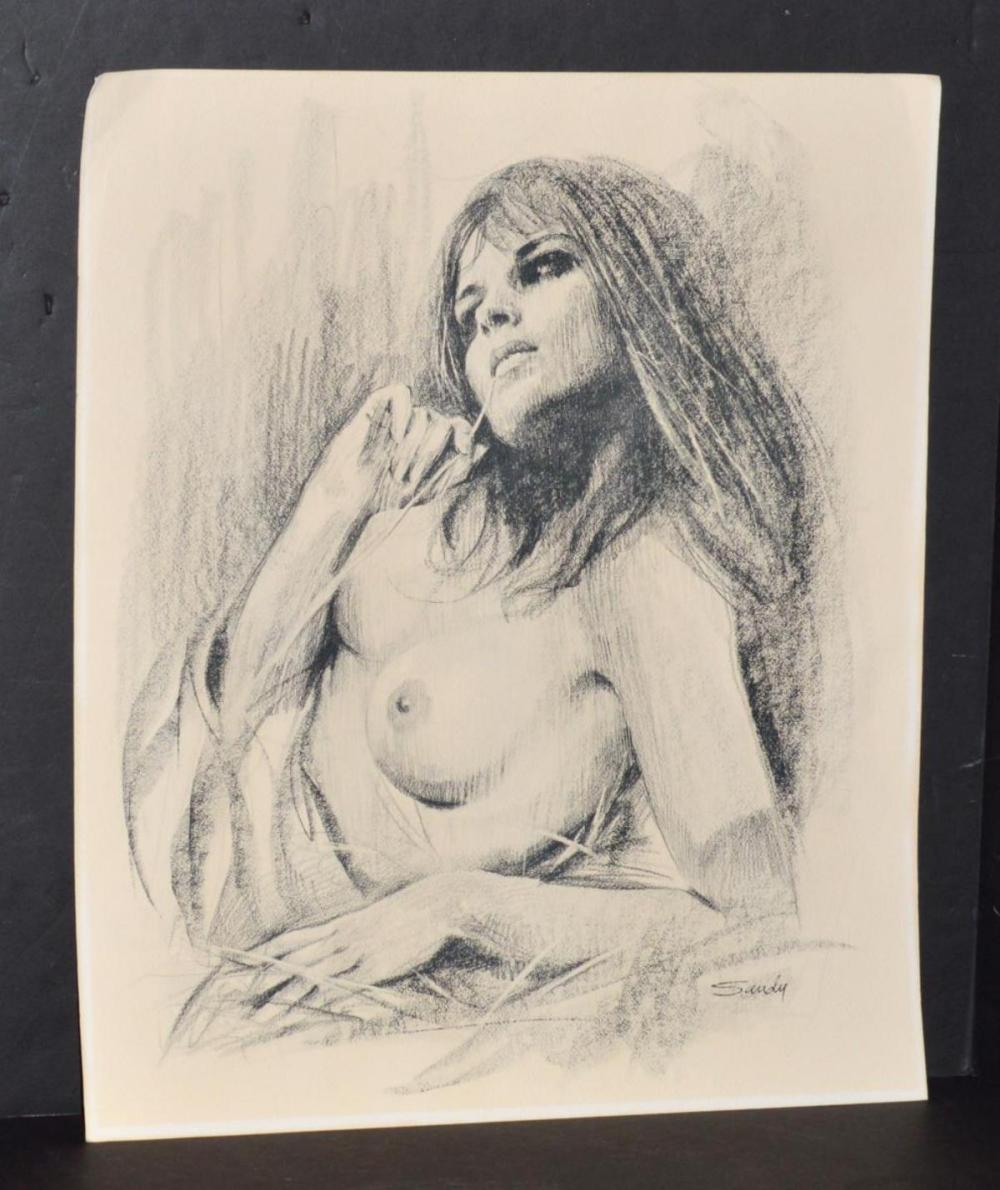 Sandu Liberman Unframed Charcoal of a Nude Woman