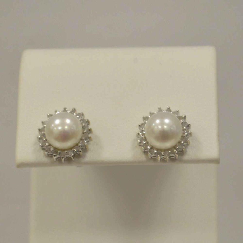 Ladies 14kt White Gold Pearl Earrings