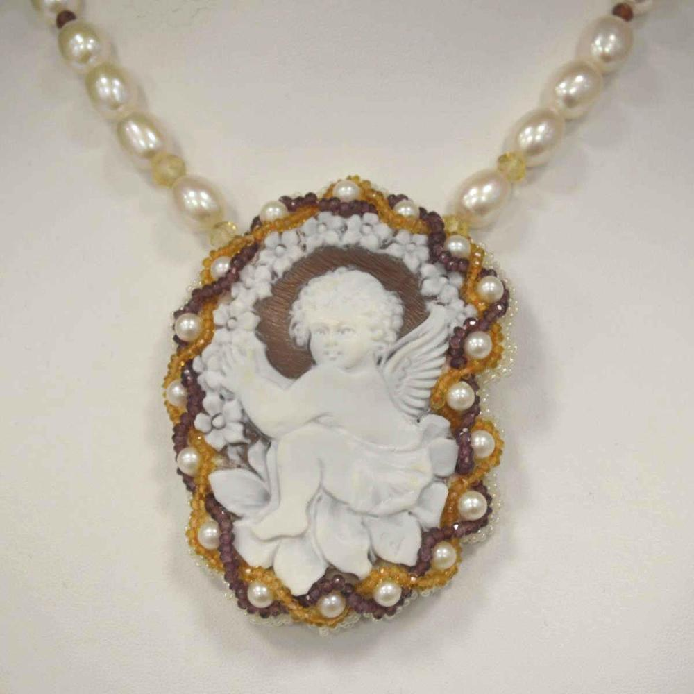 Ladies Carved Cameo and Pearl Necklace by Carada