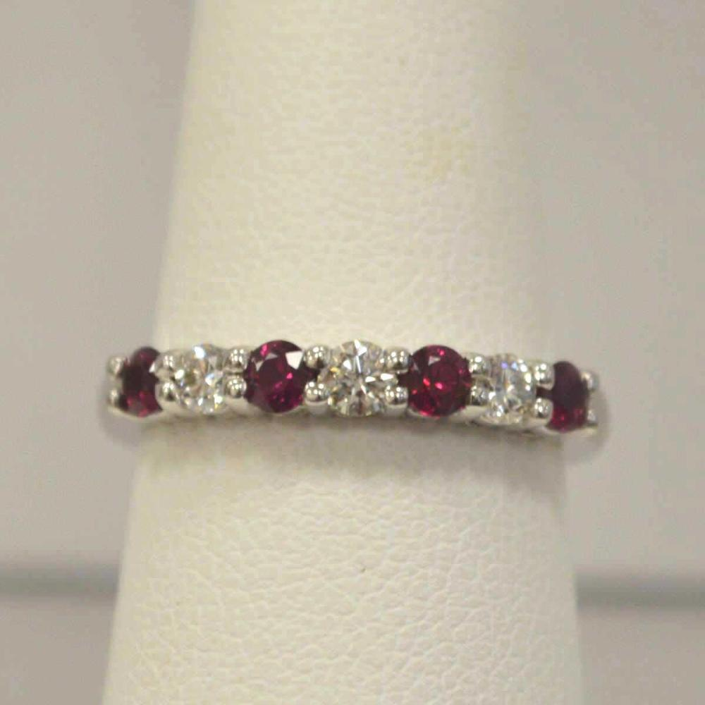 Ladies 14kt White Gold Diamond and Ruby Band