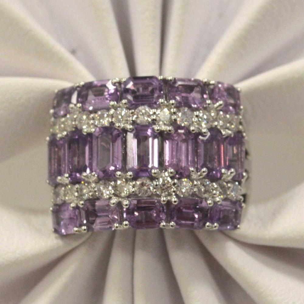 18kt white gold purple sapphire and diamond ring
