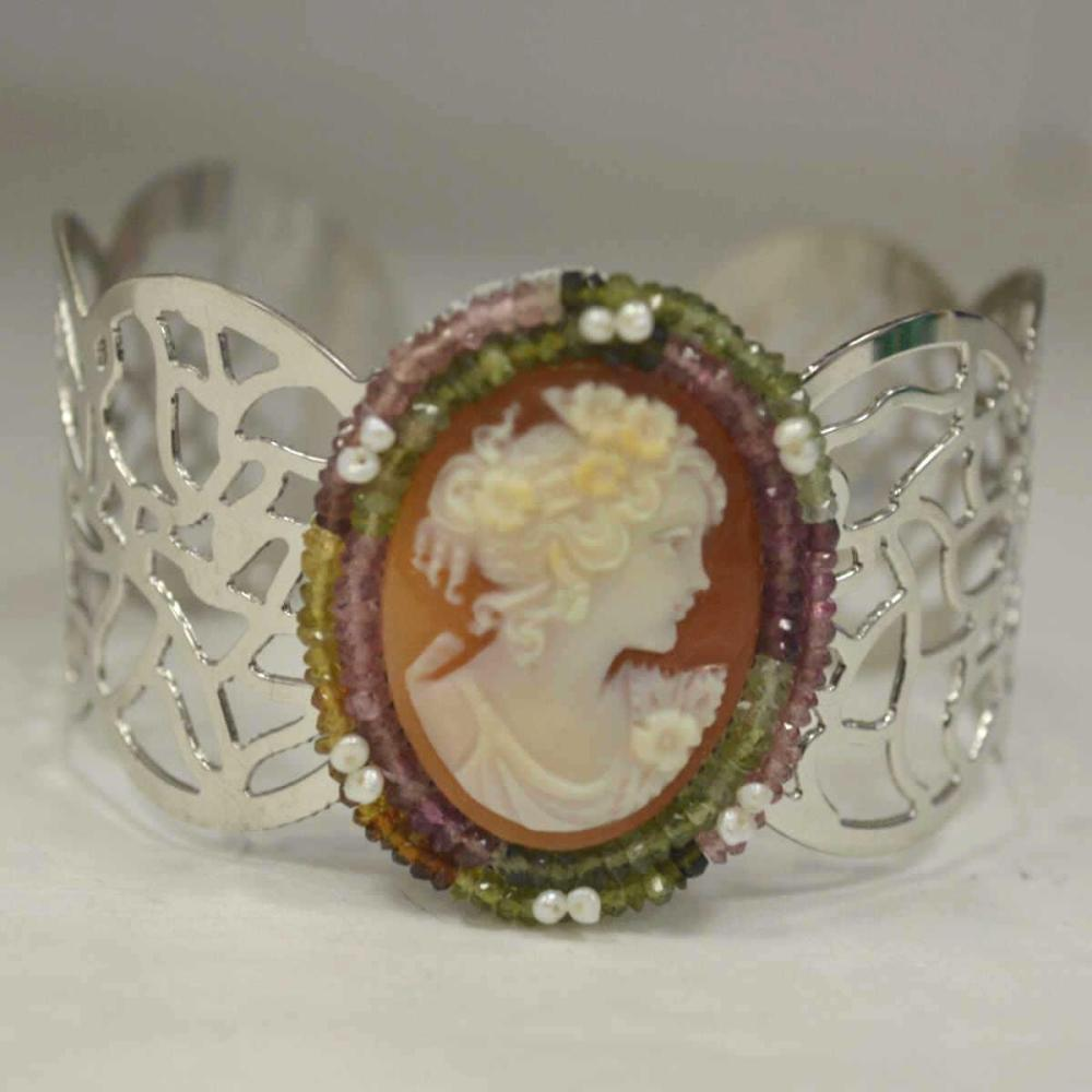 Sterling Silver Carved Cameo Cuff by Carada