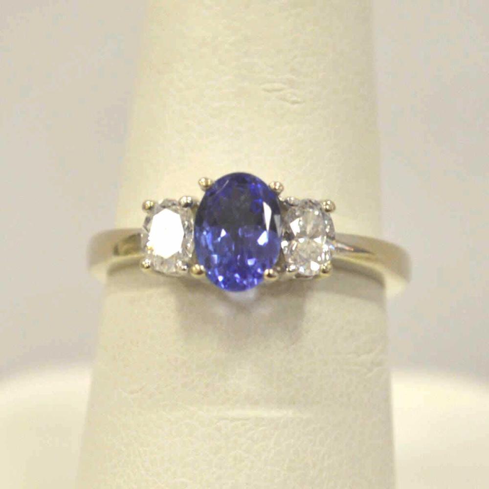 Ladies 14kt White Gold Tanzanite and Diamond Ring