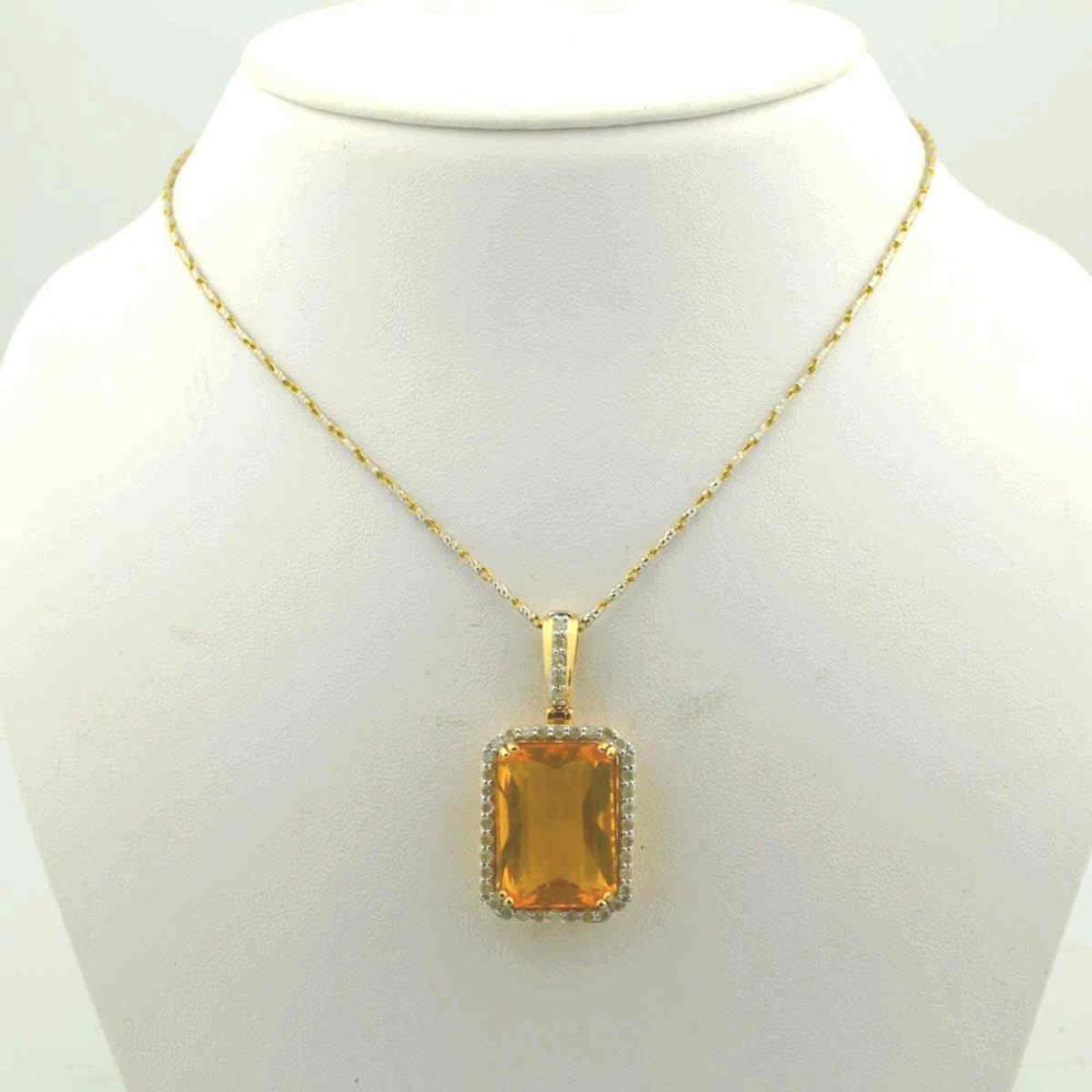 14kt yellow gold fire opal and diamond pendant
