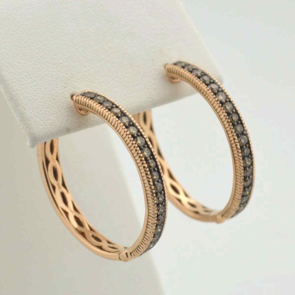 14kt rose gold diamond hoop earrings by LeVIan