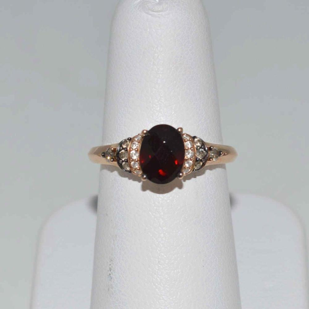 14kt rose gold garnet and diamond ring by LeVian