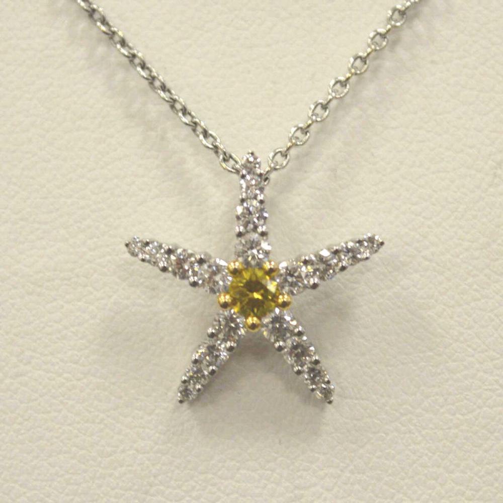 Ladies 18kt White Gold Diamond Starfish Pendant