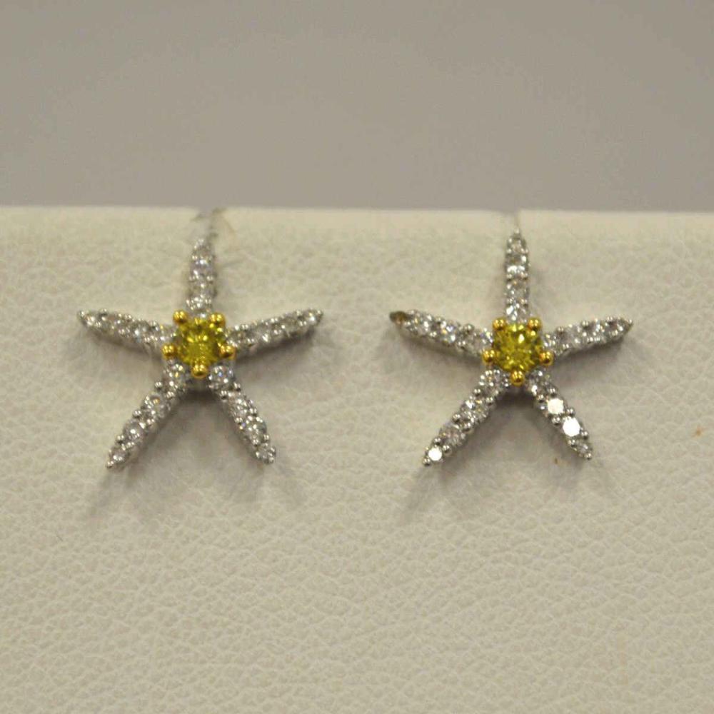 Ladies 18kt White Gold Starfish Diamond Earrings