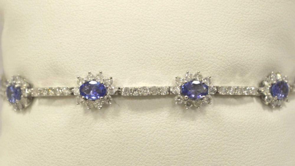 14kt white gold tanzanite and diamond bracelet
