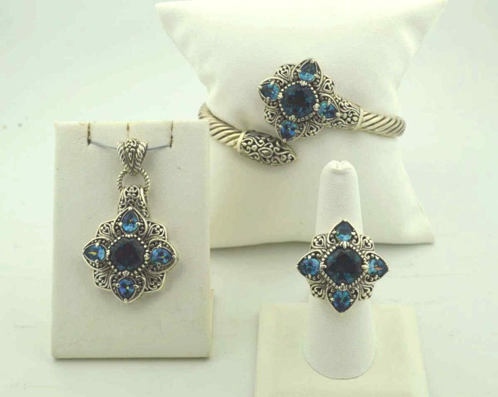Sterling topaz and quartz jewelry suite