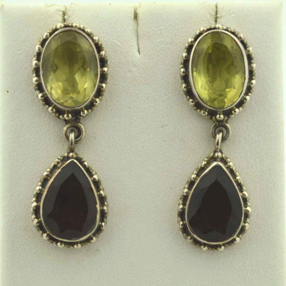Sterling silver quartz drop earrings