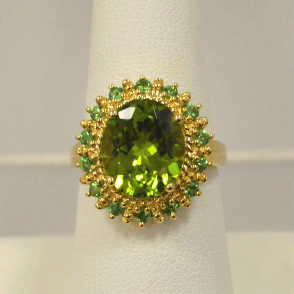 14kt yellow gold peridot and tsavorite ring