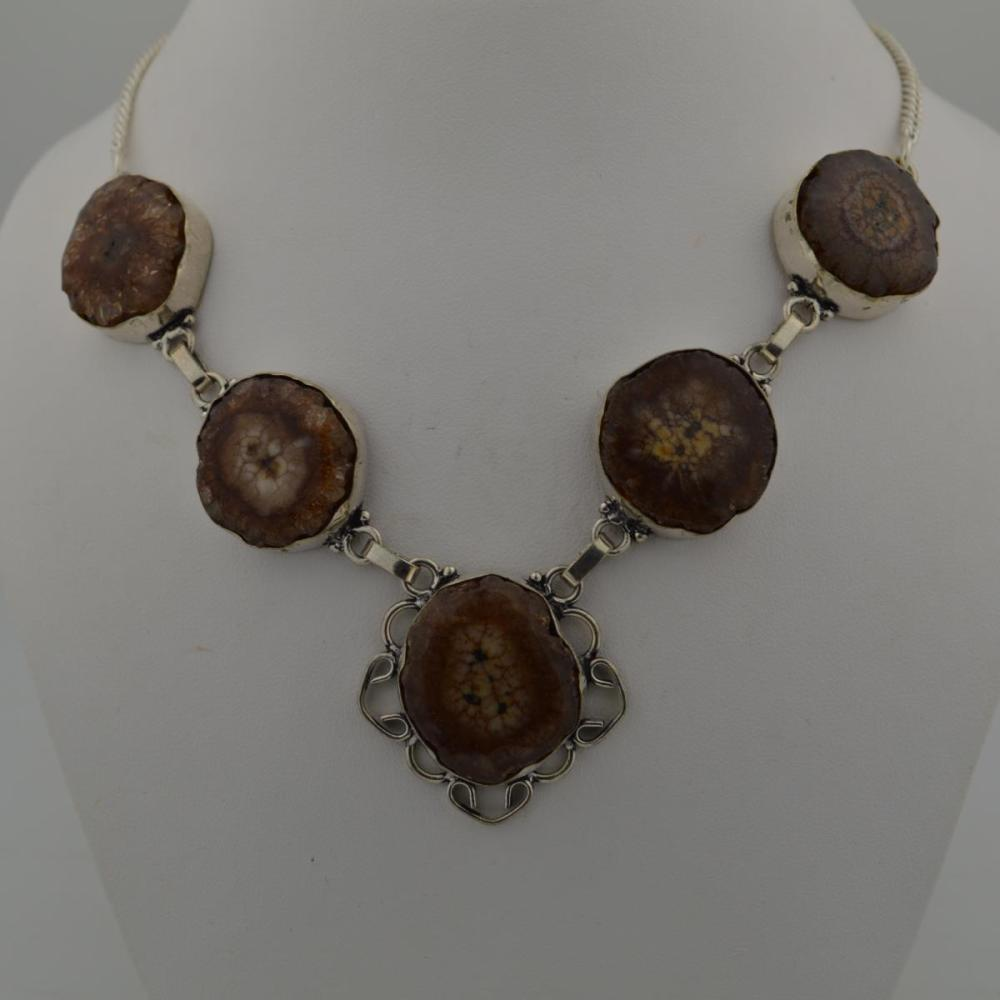 Sterling brown druzy agate necklace
