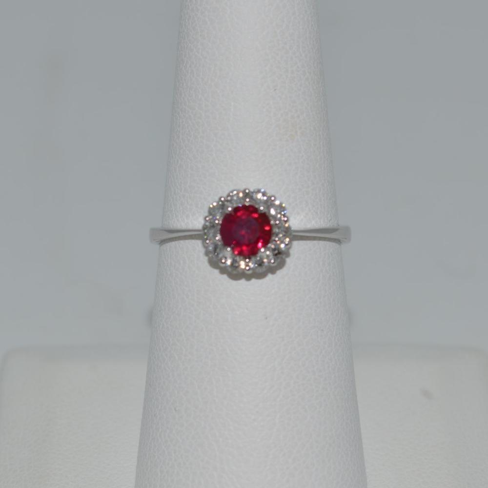 Ladies 14kt White Gold Ruby & Diamond Fashion Ring